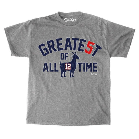 Patriots 5x Champions Tom Brady GOAT Greatest of Alltime T Shirt Mens Small