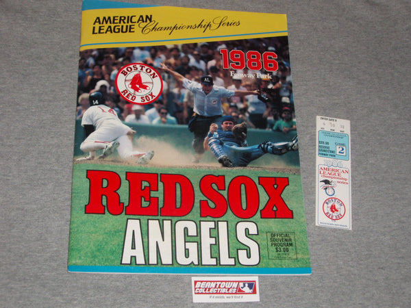 1986 ALCS Fenway Park Boston Red Sox Angels Program Game 2 Ticket Stub Lot