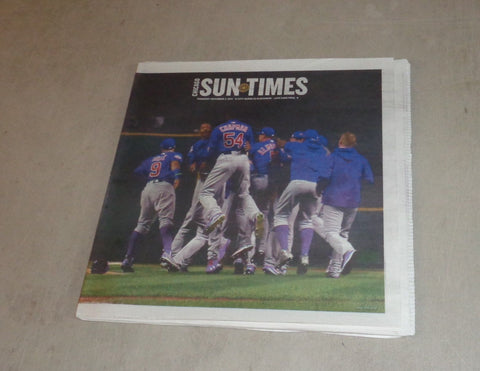 Chicago Sun Times Newspaper Chicago Cubs Win 2016 World Series Nov 2nd FREESHIP