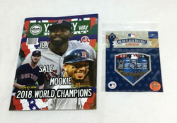 2018 World Series Champions Yawkey Way Report Red Sox Program & Jersey Patch Lot