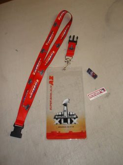 SuperBowl 49 New England Patriots Seattle Seahawks Ticket Holder Lanyard Pin