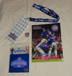 2016 World Series Champions Chicago Cubs Patch Program Ticket Lanyard Pin Lot