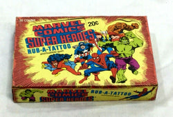 s1980 Donruss Marvel Comics Super Heroes Rub-A-Tattoo Tattoos Wax Box 36 Packs