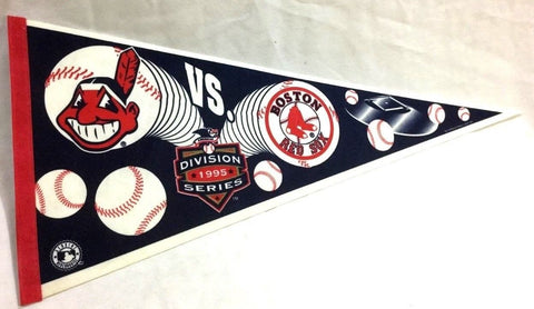 1995 ALDS Division Series Boston Red Sox Cleveland Indians Duel Logo Pennant
