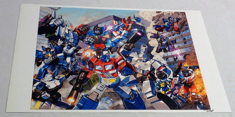 G1 Transformers Optimus Prime / Megatron Autobot Decepticon Battle in City 11x17
