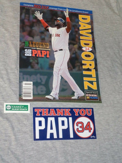2016 Boston Baseball Red Sox Program David Ortiz Retirement Cover & Sticker Lot