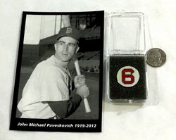 Team Issued Boston Red Sox Johnny Pesky Memorial Card Retired #6 Pin Lot
