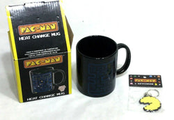 Pac-Man Pacman Heat Change Mug Coffee Cup & Rubber Keychain Gift Lot Sealed