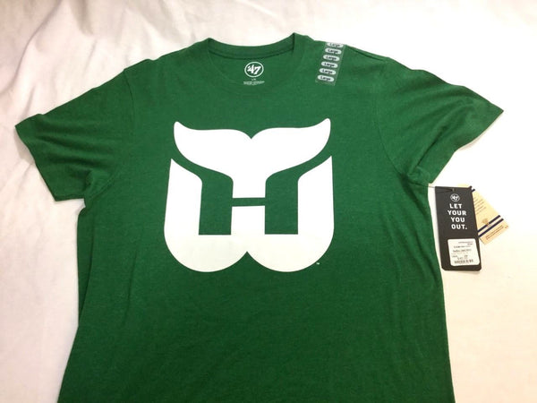 NEW 47 Brand NHL Hartford Whalers Logo Green Distressed T Shirt Size Mens Large