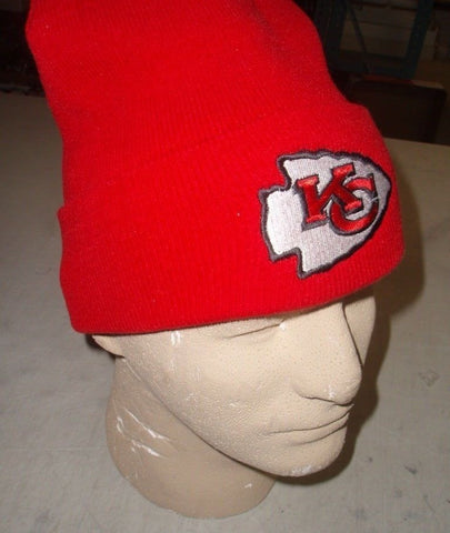 NFL Kansas City Chiefs Winter Knit Cap Hat Beanie RED Field Wear Cuffed FREE