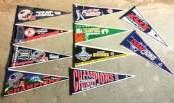 Boston Red Sox Patriots Celtics Bruins World Champions Pennant Lot Set Banners