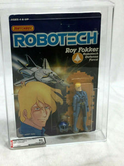 1986 Vintage Matchbox Robotech Roy Fokker Figure MOC Sealed Carded AFA 85 Mint