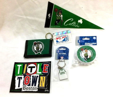 Boston Celtics Fan Pack Bottle Opener Magnet Wallet Keychain Sticker Pennant Lot
