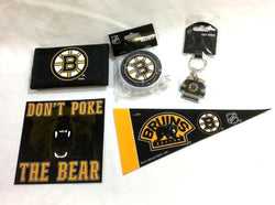 Boston Bruins Fan Pack Bottle Opener Magnet Wallet Keychain Sticker Pennant Lot