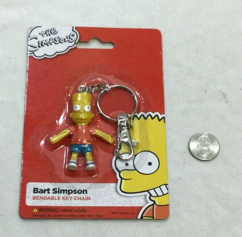 NEW The Simpsons Tv Cartoon Bart Simpson Bendable Figure Keychain FREESHIP