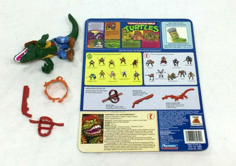 1989 Teenange Mutant Turtles TMNT Leatherhead Complete Figure Cardback FREESHP