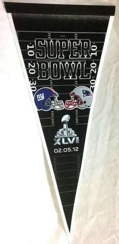 2011 Superbowl 46 Duel Pennant New England Patriots New York Giants Indianapolis