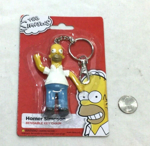 NEW The Simpsons Tv Cartoon Homer Simpson Bendable Figure Keychain FREESHIP