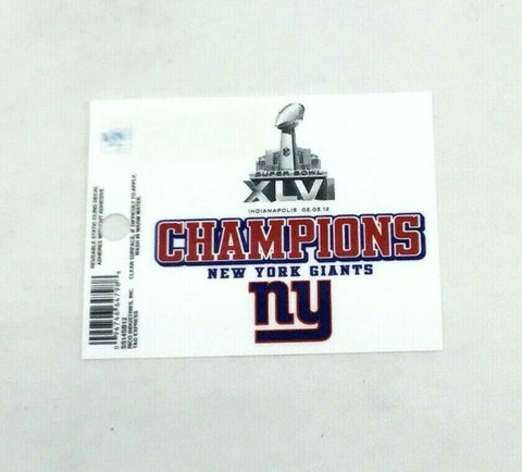 New York Giants Superbowl 46 Champioms Small Static Cling Window Decal 3x4 Size