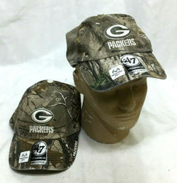 Green Bay Packers Realtree Camo Hat Cap Adjustable 47 Brand Clean Up Series NEW