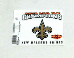 New Orleans Saints Superbowl 44 Champioms Small Static Cling Window Decal 3x4