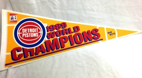 Vintage 1989 NBA Finals World Champions Detroit Pistons Pennant FREESHIP