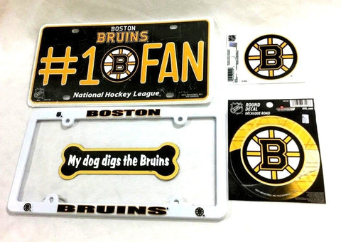 Boston Bruins Auto Car Truck License Plate Frame Air Fresher Sticker Lot Pack