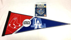 2018 World Series Pennant Boston Red Sox Los Angeles Dodgers & Jersey Patch Lot