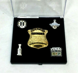 Boston Bruins 2011 Stanley Cup World Champions BPD Police Badge Trophy Pin Set