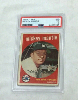 1959 Topps Baseball #10 New York Yankees Mickey Mantle PSA 3 Card FREESHIP