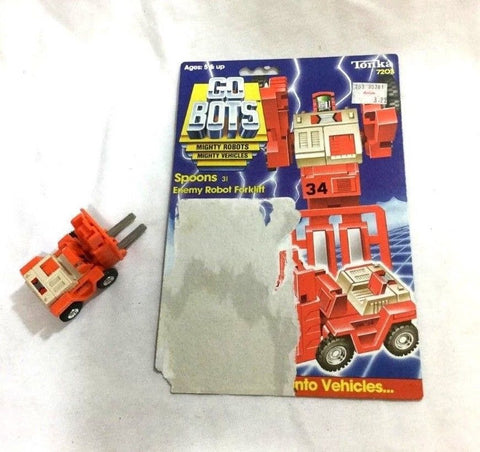 1983 Tonka Gobots Spoons Enemy Robot Forklift Cardback Complete FREESHP