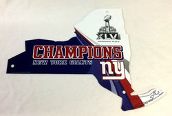 New York Giants Superbowl 46 World Champions Plastic Diecut State Sign 12x15