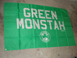 NEW Green Monstah 3x5 Nylon Banner Flag Boston Fenway Red Sox Style FREESHIP