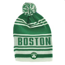 NBA Boston Celtics Winter Knit Cap Hat Beanie Pom Pom White Green FREESHIP