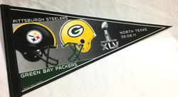 2010 Superbowl 45 Duel Pennant Green Bay Pakers Pittsburgh Steelers FREESHIP