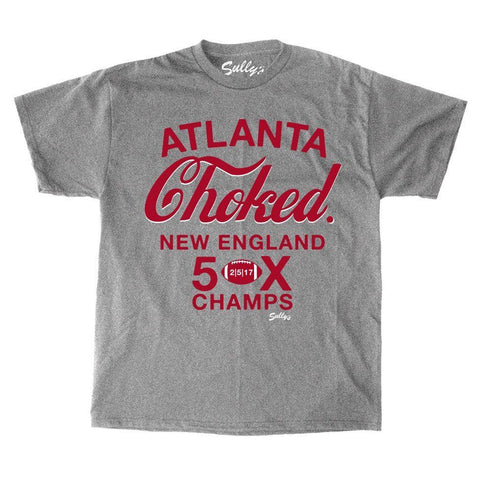 Atlanta Choked SuperBowl Patriots 5x Champions T Shirt Grey Mens Large FREESHP
