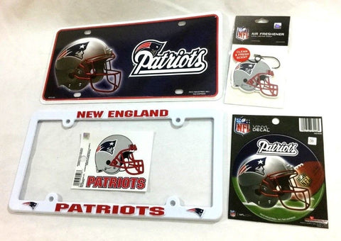 New England Patriots Auto Car Truck License Plate Frame Sticker Decal Lot Pack