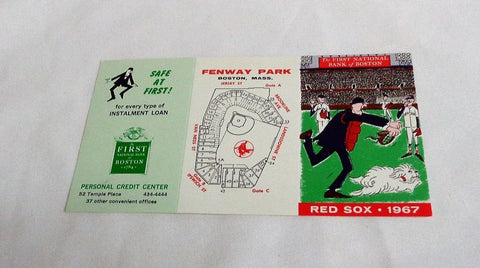 1967 Season Boston Red Sox Fenway Park Pocket Schedule MINT Rare Yaz Conigliaro