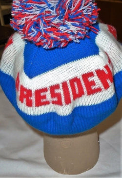 1980 President Ronald Reagan Political Campaign Winter PomPom Knit Hat Cap Mint