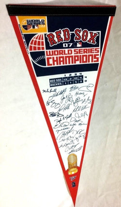 2007 World Series Champions Boston Red Sox Pennant Team Roster Signature FREESHP
