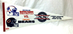 1985 Superbowl 20 Duel Logo Pennant Chicago Bears New England Patriots FREESHP