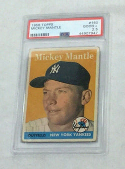1958 Topps Baseball #150 New York Yankees Mickey Mantle Card PSA 2.5 FREESHIP