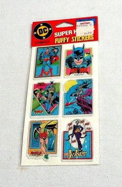 1982 Vintage DC Comics Super Heroes Puffy Stickers Batman Superman Joker Sealed
