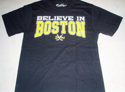 Believe in Boston T Shirt Size Medium Irish Shamrock Logo Boston Bruins Theme