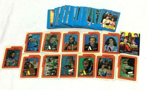 1983 Topps A-Team TV Show Complete Card Set & 12 Stickers & Mr T Wax Wrapper