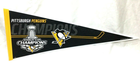 NHL 2017 Stanley Cup Champions Pittsburgh Penguins Pennant Trophy (R) FREESHIP