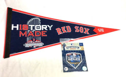 2018 World Series Champions Trophy Pennant Boston Red Sox & Jersey Patch Lot