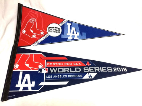 2018 World Series Duel Pennant Boston Red Sox Los Angeles Dodgers Lot of 2