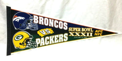1998 Superbowl 32 Duel Logo Pennant Denver Broncos Greenbay Packers FREESHIP