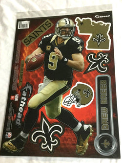 Fathead 17 Inch Sticker Wall Decal Set New Orleans Saints Drew Brees FREESHIP